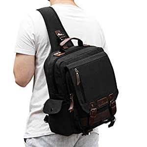 Plambag Canvas Sling Backpack One Strap Travel Sport Crossbody Bag Black