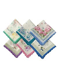 Forlisea Womens Beautiful Cotton Floral Handkerchief Wendding Party Fabric Hanky