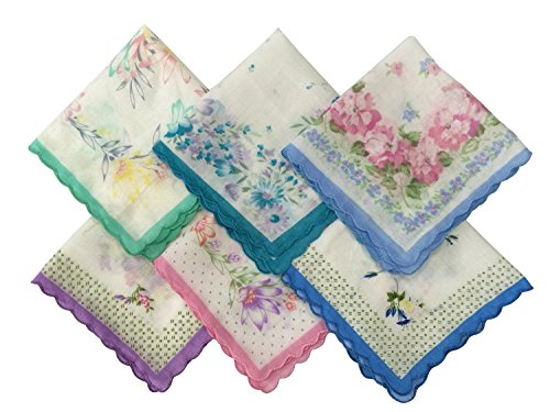 Forlisea Womens Beautiful Cotton Floral Handkerchief Wendding Party Fabric Hanky 30pcs