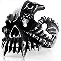 Elove Jewelry Black Silver, Stainless Steel , Gothic Skull Biker Men's Ring