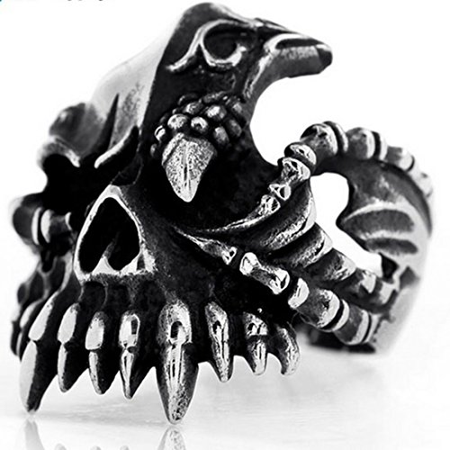 Gothic Silver Rings (Elove Jewelry Black Silver, Stainless Steel , Gothic Skull Biker Men's Ring)