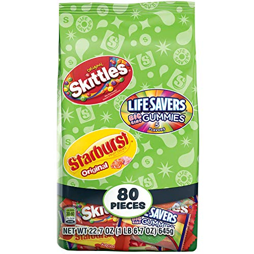 SKITTLES, STARBURST & LIFE SAVERS Halloween Candy Fun Size Variety Mix 22.7-Ounces 80 Pieces