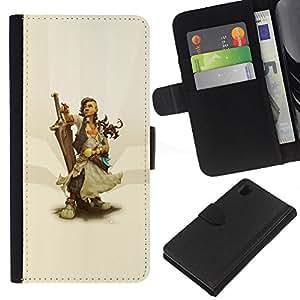 Protector de cuero de la PU de la cubierta del estilo de la carpeta del tirón BY RAYDREAMMM - Sony Xperia Z1 L39 - Warrior Woman & Sword