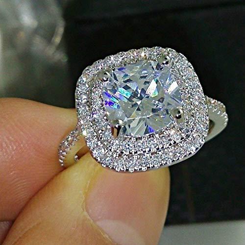 QIAOYING Fashion Ring Cushion Cut 4ct 5A Zircon Stone 925 Sterling Silver Engagement Wedding Band Ring for Women (7)