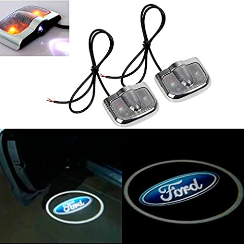 CHAMPLED For FORD Laser Projector Logo Illuminated Emblem Under Door Step courtesy Light Sticker No Drill Lighting symbol sign badge LED Glow Car Auto Tuning Accessory Self (Mustang Door Projector Lights)