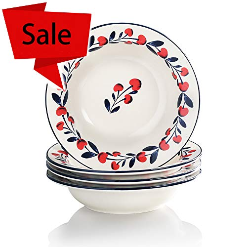 Sweejar Porcelain 9-inch Rim Soup Bowls/Plates French Countryside hand-painted cherries Oven Safe, Lead-free ()