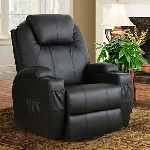 Esright Heated Massage Recliner 360 Degree Swivel Sofa PU Leather Vibration Chair (Black)