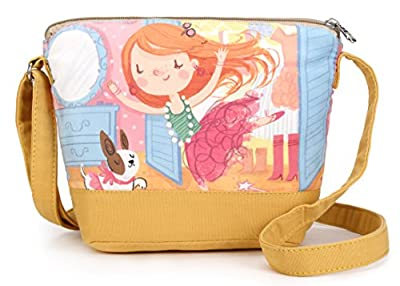Crest Design Whimsical Canvas Cross-body Shoulder Bag for Girls and Teenagers