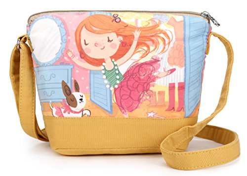 Crest Design Cute Canvas Crossbody Bag Shoulder Bag Purse for Girl and teenage (Ginger Girl)