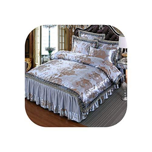 4Pcs Satin Jacquard Luxury Lace Bedding Sets Queen King Size Duvet Cover Set Bed Skirt Set Pillowcase Bedclothes,1,Queen Size B 4Pcs ()