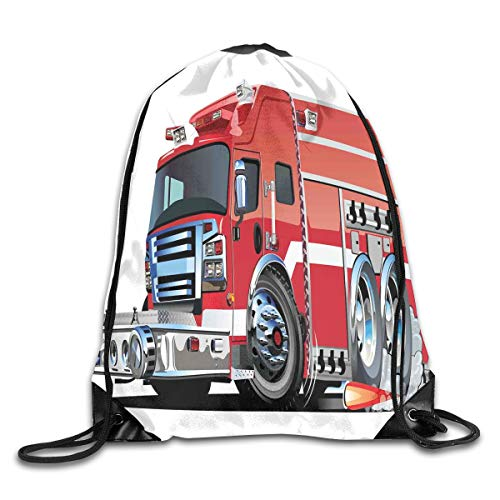 Drawstring Backpacks Bags,Big Fire Truck With Emergency Equipments Universal Safety Rescue Team Engine Cartoon,5 Liter Capacity,Adjustable