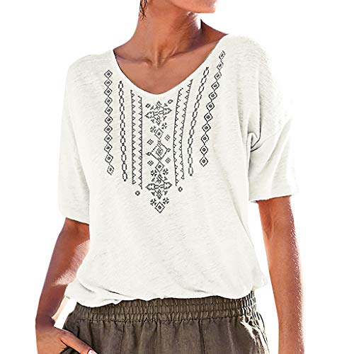 Loosebee Womens Summer Casual V Neck Short Sleeve Printed Casual T Shirt Top Blouse Clothing White]()