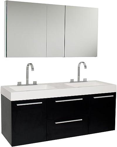 Fresca Bath FVN8013BW Opulento Double Vanity Sink with Medicine Cabinet, Black