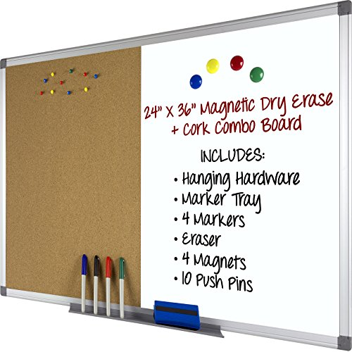 Dry Erase Cork Boards (Magnetic Dry Erase and Cork Combo Board 24x36, Aluminum Frame with 4 Markers, 4 Magnets, 10 Push Pins, 1 Eraser, Marker Tray and Hanging Hardware Included)