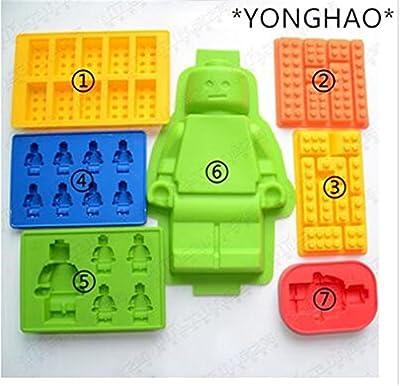 Cake Tools Holes Lego Mini Figure Robot Ice Cube Tray Mold Chocolate Cake Jelly Jello Silicone Mold Fondant Moulds N543