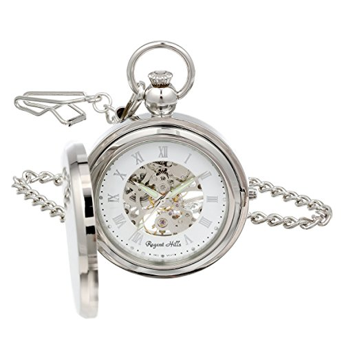 Regent Hills Silver Mechanical Picture Frame Full Hunter Skeleton Pocket Watch With Chain 55329CP-AAS2 by Regent Hills