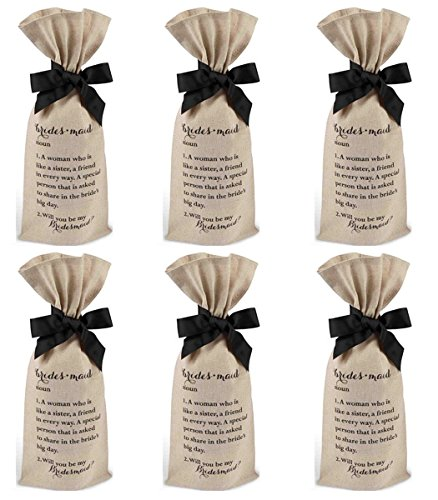 Kate Spade New York Bridesmaid Note Card Set (10 Pk) & 6 Mud Pie Bridesmaid Ask Bottle Wine Bag Bundle