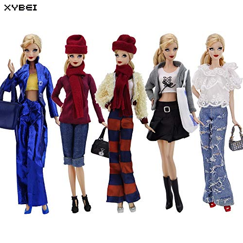 (Handmade Outfit Daily Casual Wear Mixed Style Costume Handbag Shoes Clohes for Barbie Doll Dollhouse Accessories Xmas)