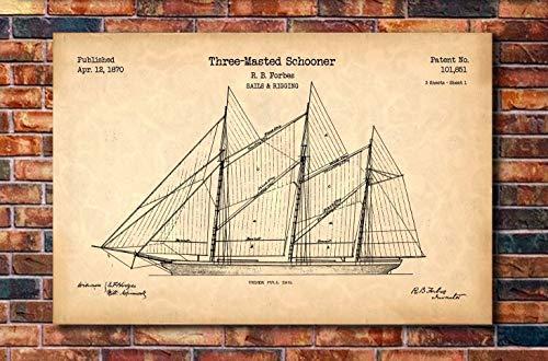 1870 Art - Schooner Sailboat Patent Print Art 1870