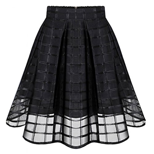 Women's Classic Black Flare Pleated Midi Skirt Organza Princess Skirt Classic Flare Skirt