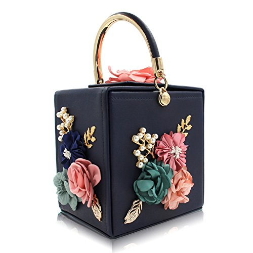 Evening Purse Clutches Blue SUNROLAN Box Bag Handbag Wedding Women's Flower Party Beaded PAACwvYq