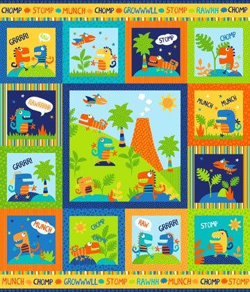 Dino Stomp Flannel 36 X 44 Inch Panel Northcott Cotton Flannel Fabric F21725-49 -