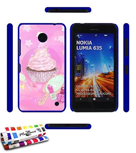 Ultraflache weiche Schutzhülle NOKIA LUMIA 630 (NOIR/BLACK) [Sussigkeiten Cupcake] [Blau] von MUZZANO + STIFT und MICROFASERTUCH MUZZANO® GRATIS - Das ULTIMATIVE, ELEGANTE UND LANGLEBIGE Schutz-Case für Ihr NOKIA LUMIA 630 (NOIR/BLACK)