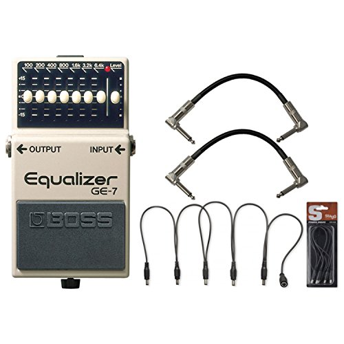 Boss Bass Equalizer (BOSS GE-7 Graphic Equalizer Pedal w/ Daisy Chain Power Cable and (2) 6