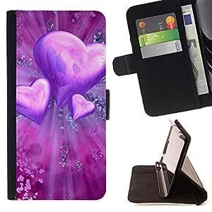 For Sony Xperia M2,S-type El amor del Corazón Púrpura- Dibujo PU billetera de cuero Funda Case Caso de la piel de la bolsa protectora