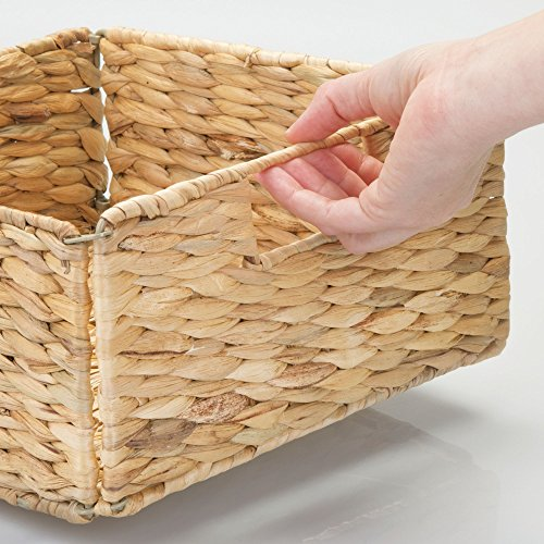 mDesign Natural Woven Hyacinth Closet Storage Organizer Bin - Half Height Cube - Handles, Collapsible, for Closet, Bedroom, Bathroom, Entryway, Office - 5.25'' High, 4 Pack, Steel Frame, Natural by mDesign (Image #4)