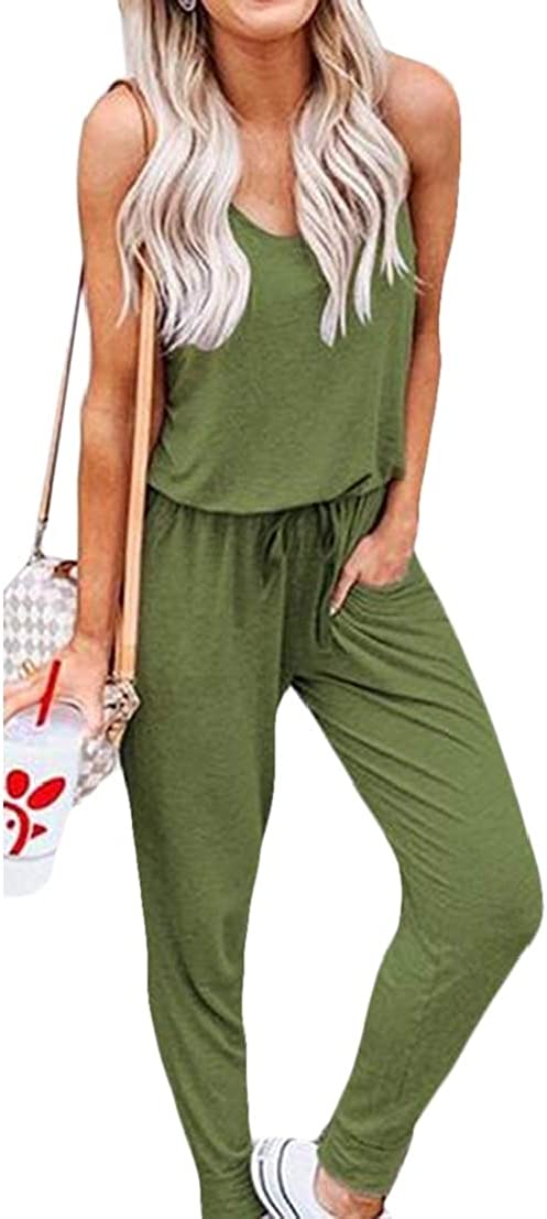UUYUK Women Sleeveless Crew Neck Pure Color Drawstring Jumpsuit Romper with Pockets