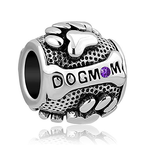 (LovelyJewelry Paws Animal Dog Mom Feb Simulated Birthstone Charms Beads For Bracelets )