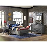 BOWERY HILL 4 Piece Twin Storage Panel Bedroom Set in Black Steel
