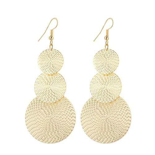 (IDB Delicate Filigree Dangle Triple Disc Drop Hook Earrings - Available in Silver and Gold Tones (Gold Tone))