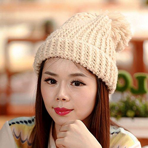Maozi de Han Ventilador Khaki lo Gruesas los de para señoras Sombreros BEIGE Salvajes señoras de a Invierno otoño Largo Sombreros de Grueso Punto los de de Las 5rq5dEf