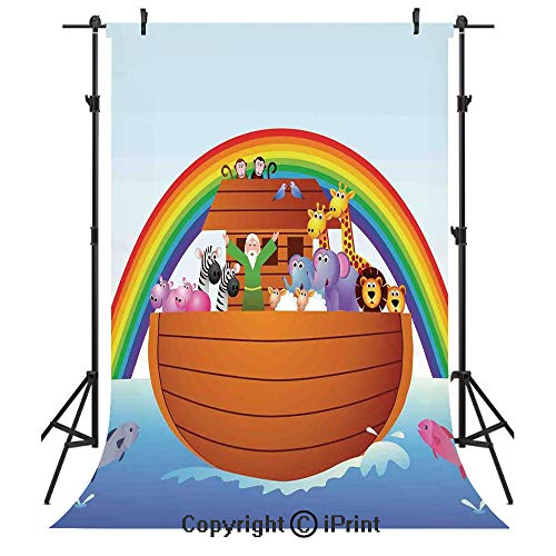 Noahs Ark Photography Backdrops,Noah Ark and Colorful Sky Every Kind of Creature Sailing Artful Design Print,Birthday Party Seamless Photo Studio Booth Background Banner 3x5ft,Multicolor (Noahs Ark Back Drop)