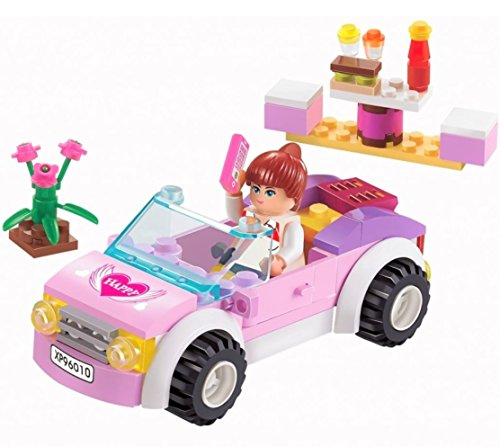 Girls Dream Building Blocks Pink Car set 88pc Includes Action Figure – Great Gift for (Treasures Set)