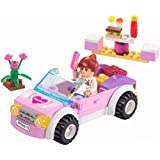 Girls Dream Building Blocks Pink Car set 88pc Includes Action Figure – Great Gift for Children