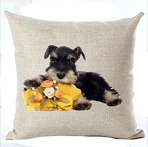"Family cute Pet Dog Glasses Yellow Flowers Schnauzer Cotton Linen Square Throw Waist Pillow Case Decorative Cushion Cover Pillowcase Sofa 18""x 18"""
