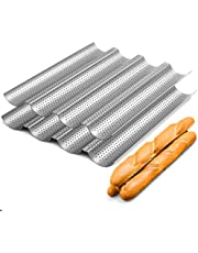 """2 Pack Nonstick Perforated Baguette Pan 15"""" x 13"""" for French Bread Baking 4 Wave Loaves Loaf Bake Mold Toast Cooking Bakers Molding 4 Gutter Oven Toaster Pan (Sliver)"""