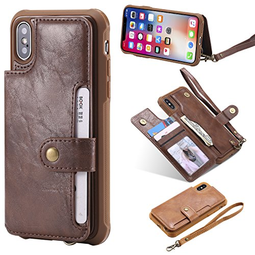 Etui X Protection Cover iPhone BONROY Cuir iPhone Housse 10 Fonction Elegante 10 X Miroir Papillon Coque Carte Magn Fleur Housse de Support Case iPhone Porte Antichoc Cuir en Flip TqvnXw