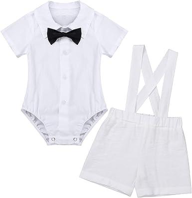 inlzdz Trajes de Bautizo para Bebé Niño Recién Nacido Mono Camisa Manga Corta con Corbata de Lazo Pantalones Cortos de Tirantes Ropa Conjunto de Cumpleaños Boda Fiesta: Amazon.es: Ropa y accesorios