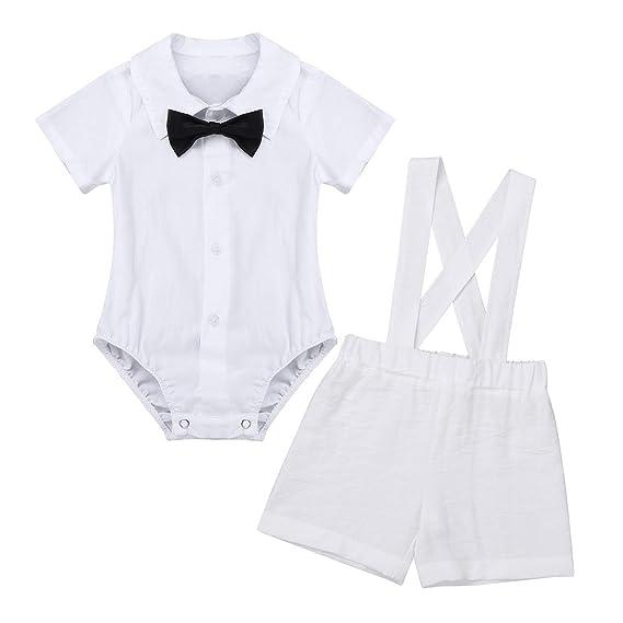 inlzdz Trajes de Bautizo para Bebé Niño Recién Nacido Mono Camisa Manga Corta con Corbata de Lazo Pantalones Cortos de Tirantes Ropa Conjunto de ...