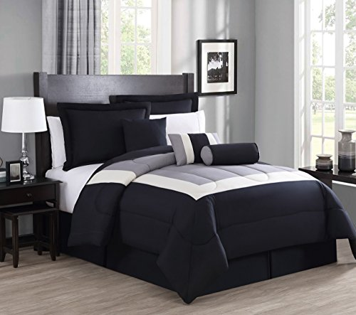 - 11 Piece Cal King Rosslyn Black/Gray Bed in a Bag w/600TC Sheet Set