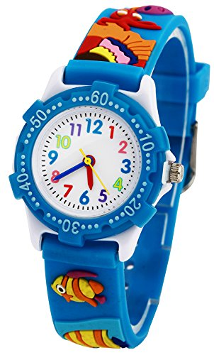 RUIWATCHWORLD Analog Watch Silicone Materials Band Gift for Little Girls Boy Kids Children