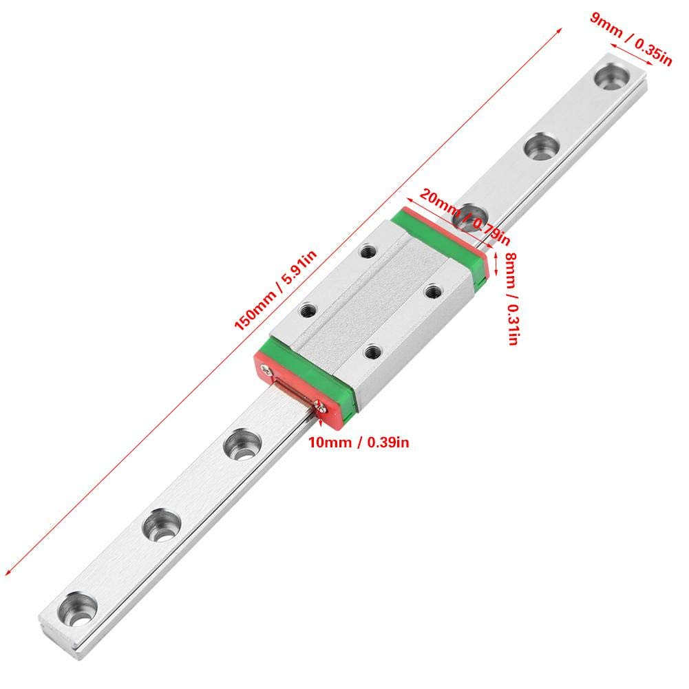 LML9H 150mm Miniature Linear Rail Guide Rail 9mm Width Slide Block Acogedor Linear Guide Rai