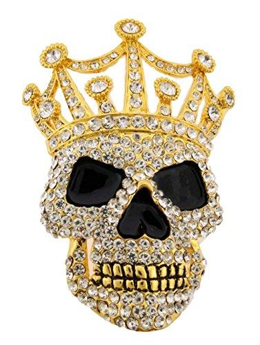 [Skull Crossbones Belt Buckle Skeleton Rhinestones Grim Reaper Gold Metal Gothic Tattoo Crown] (Skull Buckle Metal)