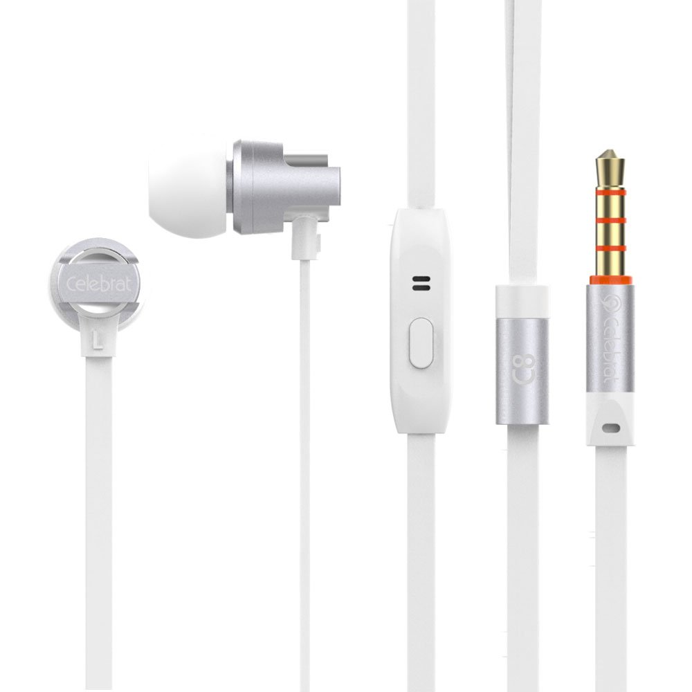 Celebrat C8 Earphones Headphones, High Definition, in-ear, Noise Isolating for iPhone, iPod, iPad, MP3 Players, Samsung Galaxy, Nokia, HTC, Nexus, BlackBerry etc (With Microphone), silver