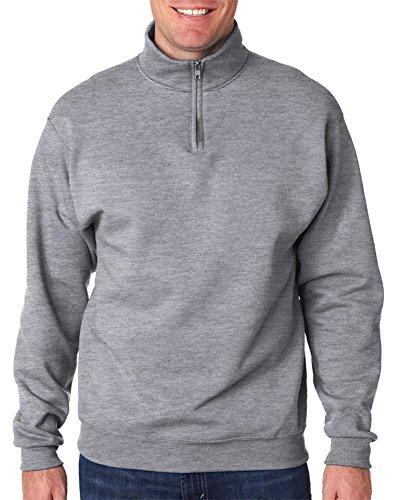 Jerzees Men's NuBlend 1/4 Zip Cadet Collar Sweatshirt, Oxford (49/51), X-Large