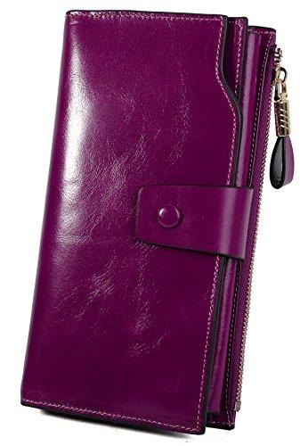 YALUXE Women's Wax Genuine Leather RFID Blocking Large Capacity Luxury Clutch Wallet Card Holder Organizer Ladies Purse Wallets for women brown Purple